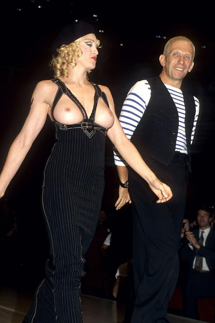 **JEAN-PAUL GAULTIER 1992** <BR><BR> Jean-Paul Gaultier's creations have been never been conservative. In 1992, he staged his first runway show in the US at a fundraising event for AmFAR. Madonna made an appearance on the runway, wearing a jumpsuit that bared her whole chest, stunning the audience and the entertainment industry shortly after.