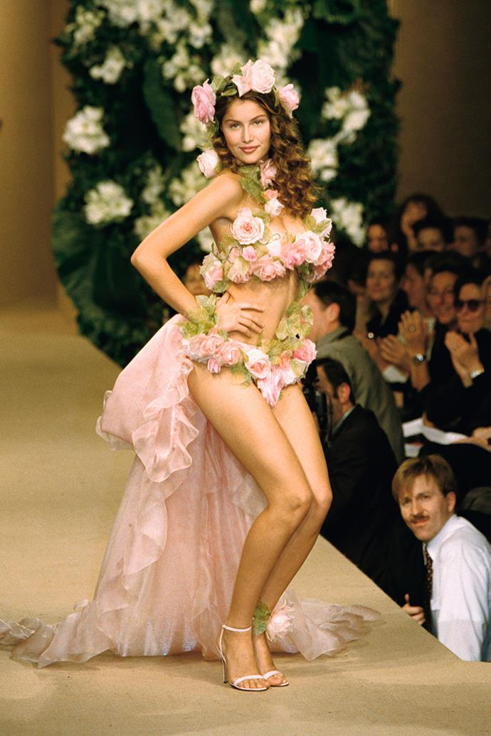**YVES SAINT LAURENT HAUTE COUTURE 1999** <br><br> Although Tom Ford had taken over designing Yves Saint Laurent's ready-to-wear line earlier that year, Saint Laurent himself was still crafting the designs for the label's haute couture collections.  That's where he debuted this floral wedding dress, slightly unconventional don't you think?