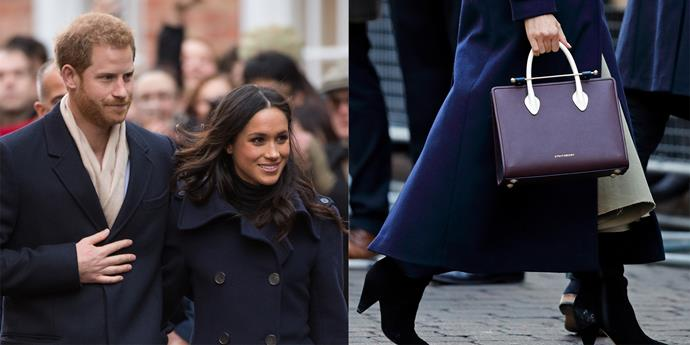 "**STRATHBERRY** <br><br> On December 1, while out in Nottingham, Markle wore this handbag by little-known Scottish brand [**Strathberry**](https://www.strathberry.com/collections/the-strathberry-midi-tote/products/the-strathberry-midi-tote-tri-colour-burgundy-navy-vanilla|target=""_blank""