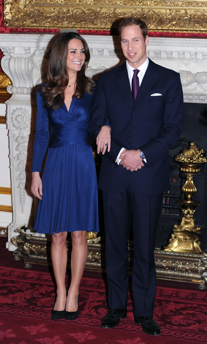 "**ISSA LONDON** <br><br> At the royal engagement announcement in 2010, then-newcomer [**Kate Middleton**](https://www.harpersbazaar.com.au/celebrity/kate-middleton-prince-william-royal-wedding-mistakes-15212|target=""_blank"") wore a royal blue dress by **Issa London**, which matched her engagement ring from mother-in-law, Princess Diana. The dress immediately became a global hit and sold out in 43 countries, according to [*ELLE UK*](http://www.elleuk.com/fashion/celebrity-style/news/a34185/kate-middleton-blue-issa-engagement-dress-daniella-helayel/