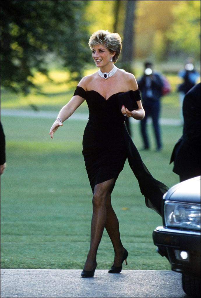 "**CHRISTINA STAMBOLIAN** <br><br> After Diana and [Charles'](https://www.harpersbazaar.com.au/celebrity/what-prince-charles-wanted-to-call-william-and-harry-14169|target=""_blank"") very public divorce in 1992, the Princess of Wales abandoned her previously conservative aesthetic and marked her independence with this dress by Greek designer **Christina Stambolian**. It immediately brought the label to global attention, and became known as one of the late Princess's most iconic fashion moments."