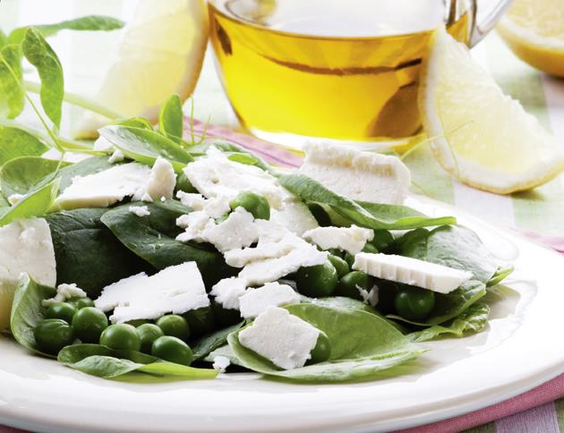 If you have **sensitive skin** you should eat **Pea, Spinach, Mint and Feta Salad**. <br> <br> Spinach contains coenzyme Q10, which helps neutralize free radicals and minimize the damage they cause from penetrating your cells.   Mint provides powerful digestive-calming properties to aid digestion and reduce inflammation. Containing thymol and menthol, these ingredients enhance the calming effect of mint while helping to reduce bloating.  <br> <br> Here's the recipe you should follow:<br> •	2 handfuls freshly unshelled peas <br> •	6 handfuls baby spinach <br> •	6 mint leaves, larger leaves torn <br> •	Olive oil, to taste <br> •	3 tablespoons lemon juice <br> •	6 ounces feta cheese<br> <br> <br> **Directions:** Wash spinach well, then dry it in a salad spinner or on towels. Combine the spinach, mint and peas in a serving bowl. Add olive oil until lightly dressed, and then lemon juice, and toss gently, adjusting the dressing if need be. Top with crumbled feta cheese.