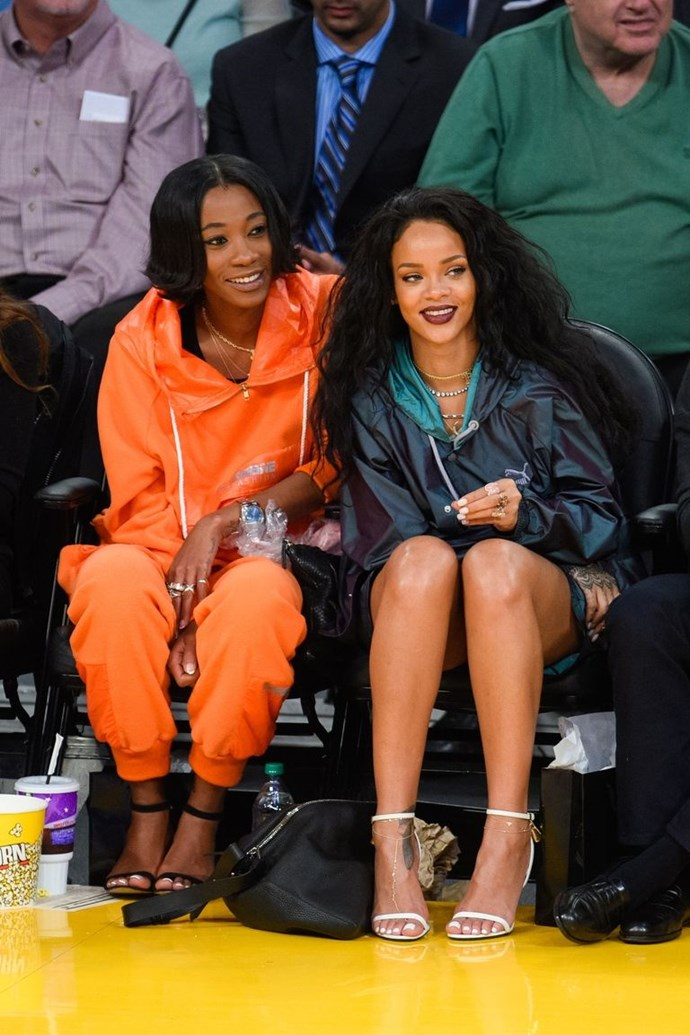 Rihanna with childhood best friend, Melissa Forde.