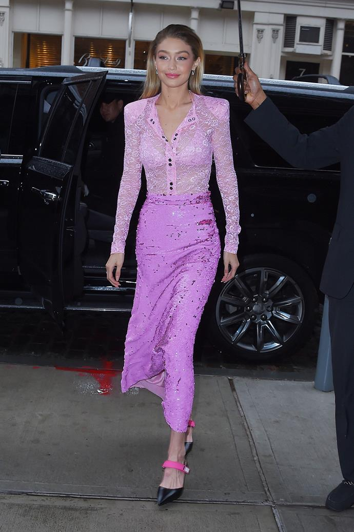 In head-to-toe pink while promoting Maybelline x  Gigi in New York city