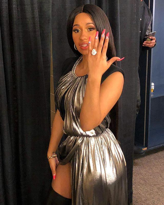 **Cardi B** <br><br> Cardi B's fiancé Offset, a rapper, proposed to the hip-hop artist in front of a sold-out crowd at a concert in mid-October. She then took to Instagram to showcase the whopping eight-carat pear-shaped halo diamond ring.