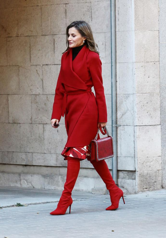 In head-to-toe red while attending a meeting in Madrid.