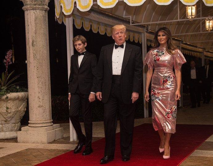 The First Lady rang in 2018 wearing a sequinned Erdem dress and bubblegum-pink court shoes for a New Year's Eve party.