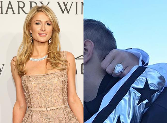 ***Paris Hilton***  Paris Hilton's recently-received pear-shaped engagement ring from Chris Zylka reports costs an eye-watering $2.5 million and includes 22 carats of diamonds. Damn.