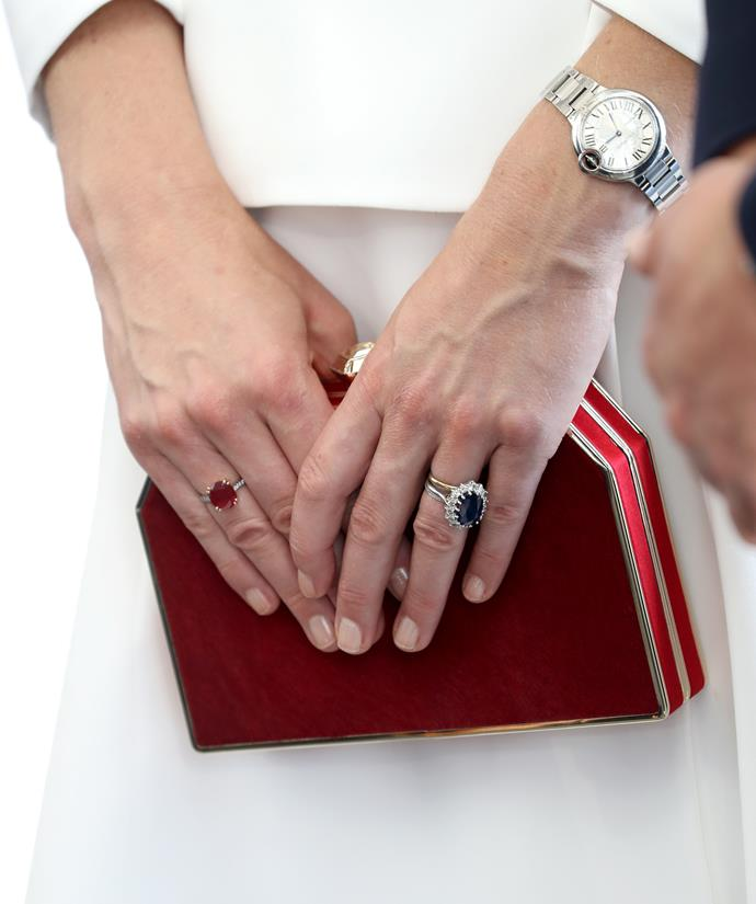 ***THOU SHALT NOT HAVE BRIGHT NAILS***<br><br> Queen Elizabeth is known for her distaste of bright manicures and very long nails; therefore the Duchess always keeps her nails short and in a clean semi-nude colour. She shares a favourite polish with the Queen, Essie's 'Ballet Slippers.'