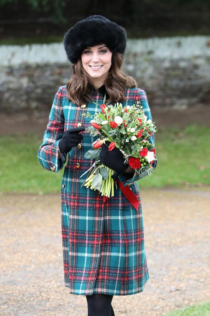 December 25, 2017 - Attending the royal family's Christmas Day church service, when Kate is pregnant with her third child.