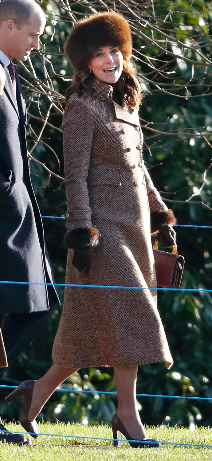 January 7, 2018 - Attending a church service at St Mary Magdalene Church, Sandringham, when Kate is pregnant with her third child.