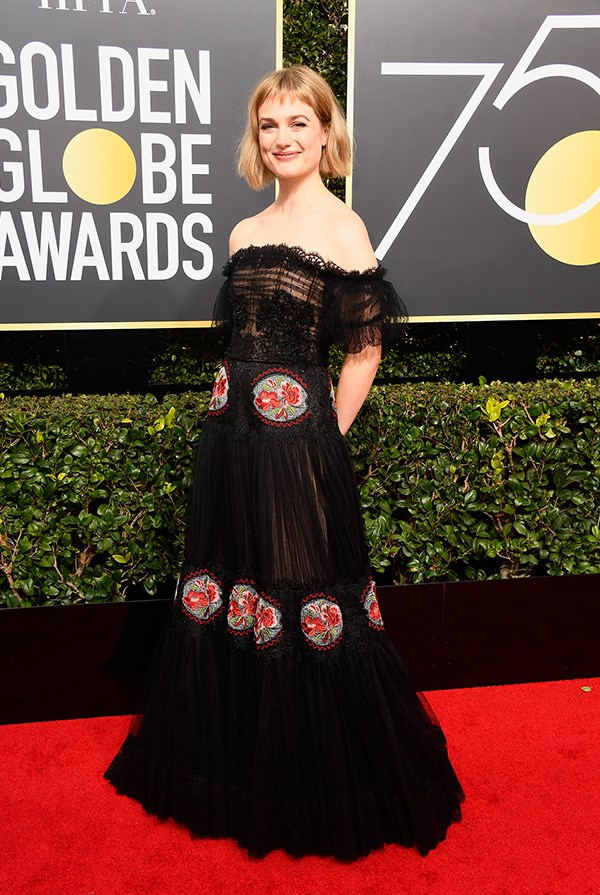 Alison Sudol at the 2018 Golden Globes.