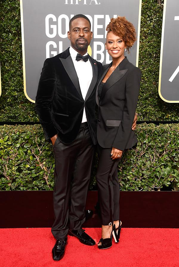 Sterling K. Brown and Michelle Bathe at the 2018 Golden Globes.