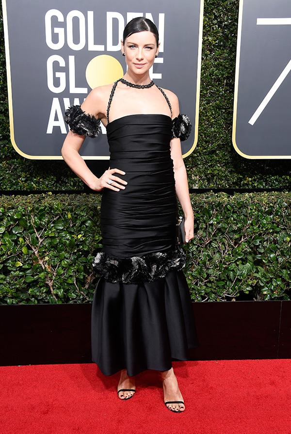 Caitriona Balfe in Chanel at the 2018 Golden Globes.