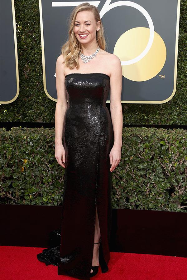 Yvonne Strahovski in KaufmanFranco at the 2018 Golden Globes.