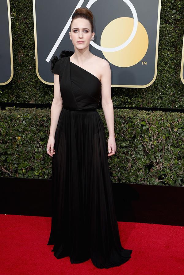 Rachel Brosnahan in Vionnet at the 2018 Golden Globes.