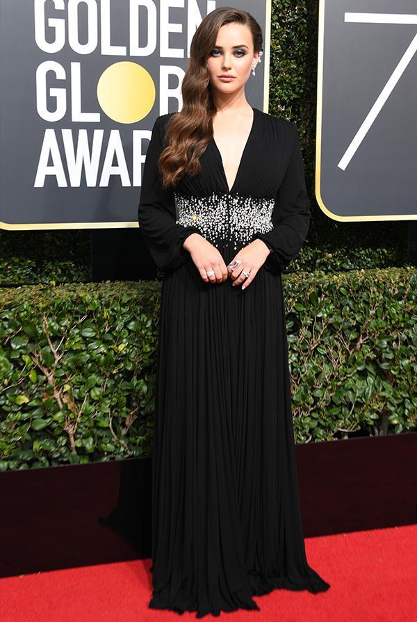 Katherine Langford in custom Prada at THE 2018 Golden Globes.