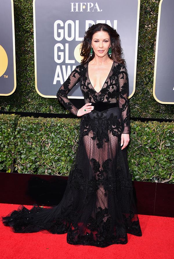 Catherine Zeta-Jones in Zuhair Murad at the 2018 Golden Globes.