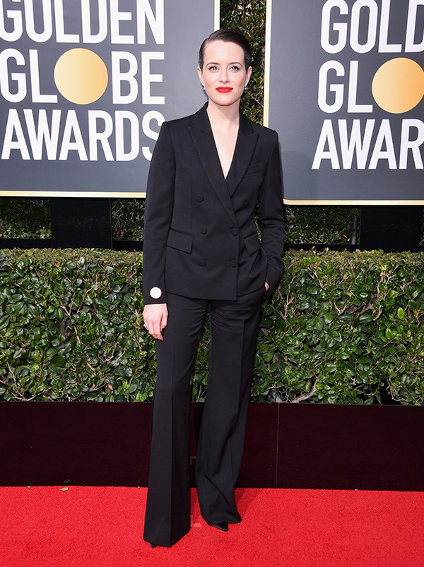 Claire Foy in Stella McCartney at the 2018 Golden Globes.