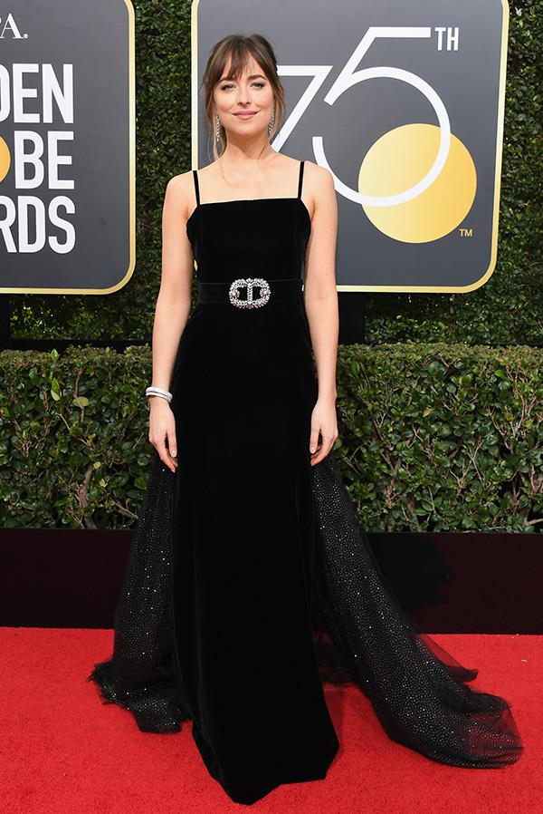 Dakota Johnson in Gucci at the 2018 Golden Globes.