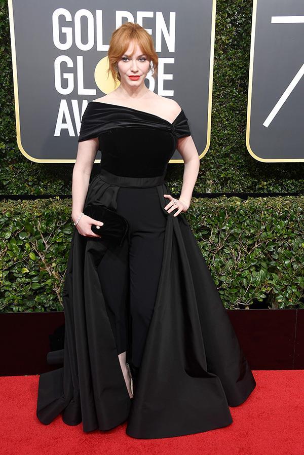 Christina Hendricks in Christian Siriano at the 2018 Golden Globes.