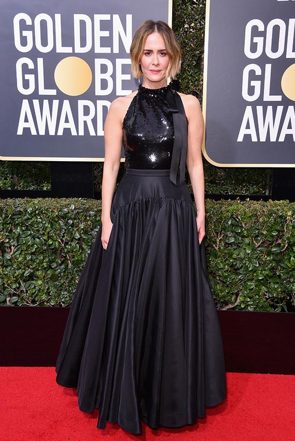 Sarah Paulson in Calvin Klein at the 2018 Golden Globes.