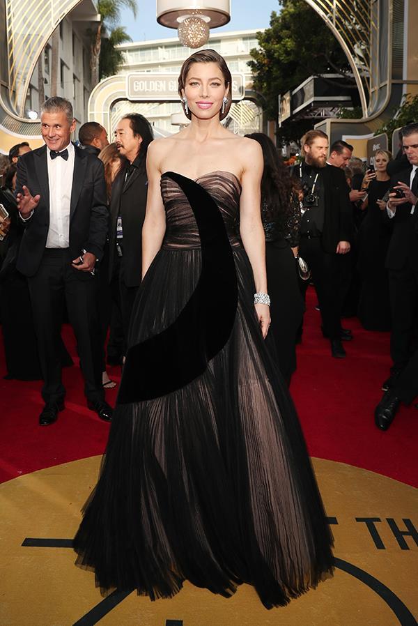 Jessica Biel in Dior at the 2018 Golden Globes.