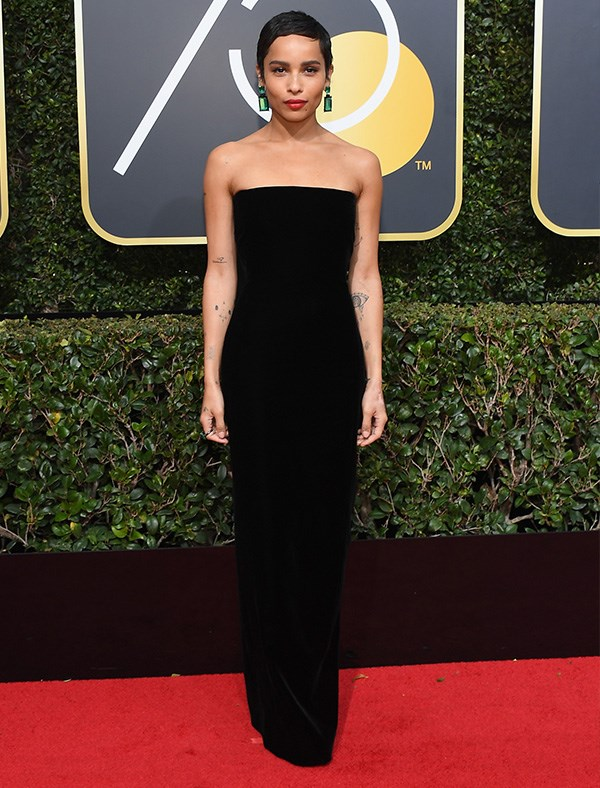 Zoë Kravitz in Saint Laurent at the 2018 Golden Globes.