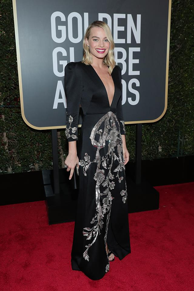 Margot Robbie in Gucci at the 2018 Golden Globes.