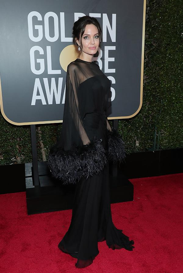 Angelina Jolie in Atelier Versace at the 2018 Golden Globes.