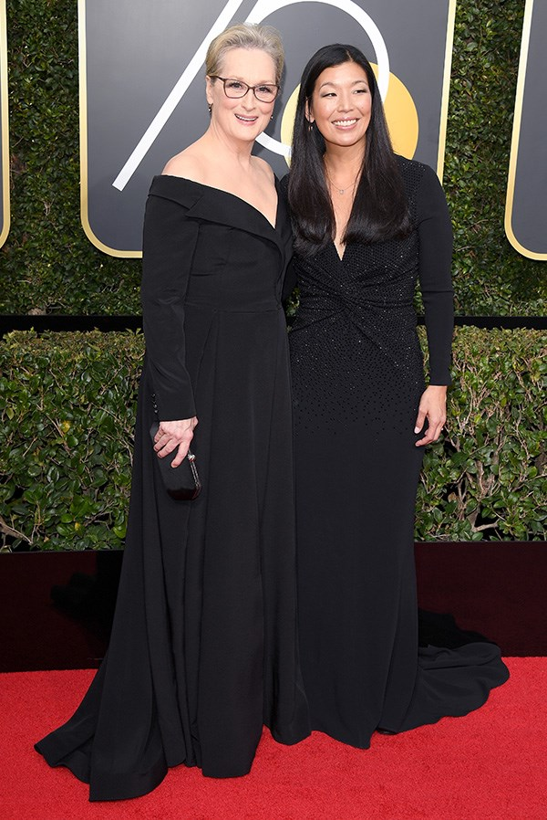 Meryl Streep and Ai-jen Poo at the 2018 Golden Globes.