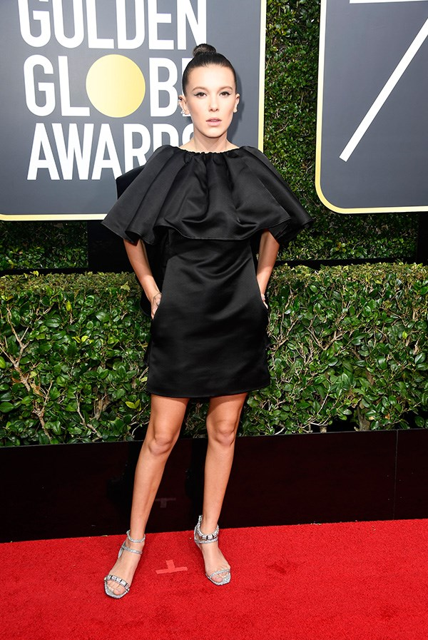 Millie Bobby Brown in Calvin Klein at the 2018 Golden Globes.