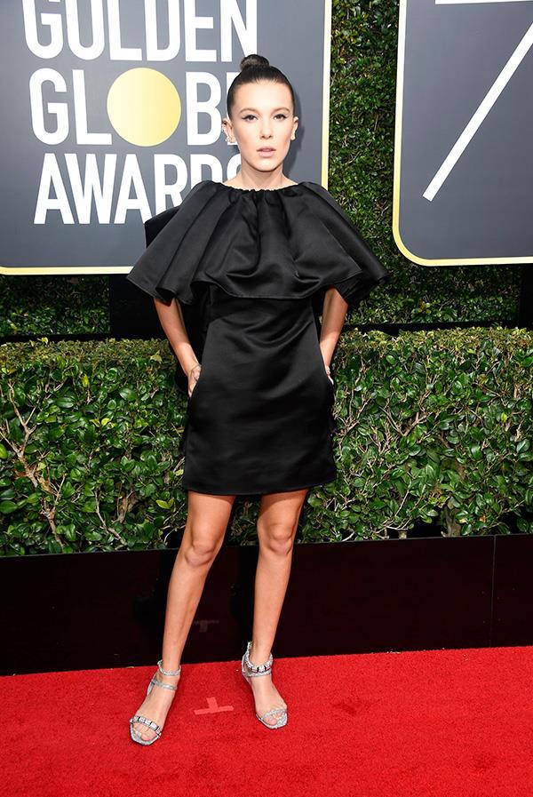 Millie Bobby Brown in Calvin Klein at the 2018 Golden Globes.