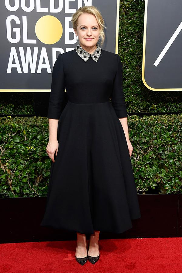 Elisabeth Moss in custom Christian Dior Haute Couture at the 2018 Golden Globes.