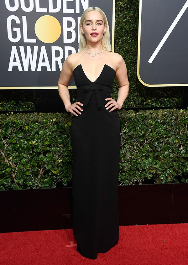 Emilia Clarke in Miu Miu at the 2018 Golden Globes.