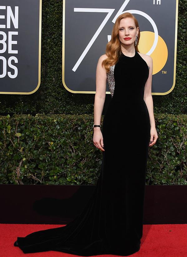 Jessica Chastain at the 2018 Golden Globes.