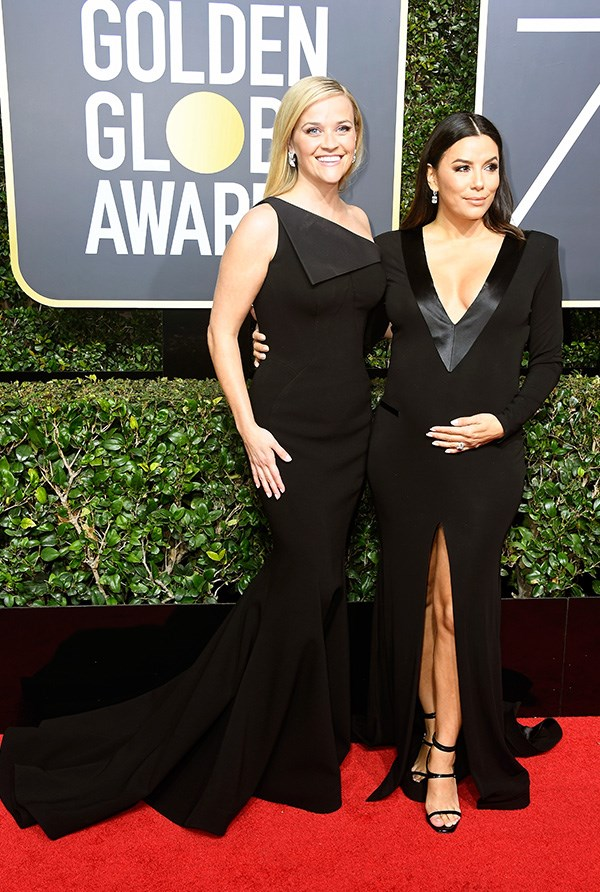 Reese Witherspoon and Eva Longoria at the 2018 Golden Globes.