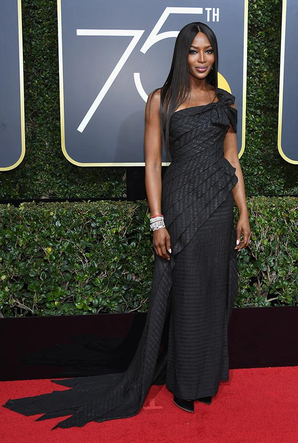 Naomi Campbell in Jean Paul Gaultier at the 2018 Golden Globes.