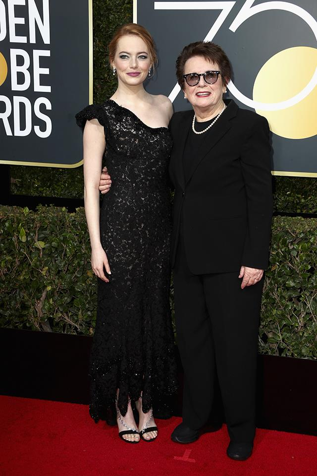 Emma Stone and Billie Jean King at the 2018 Golden Globes.