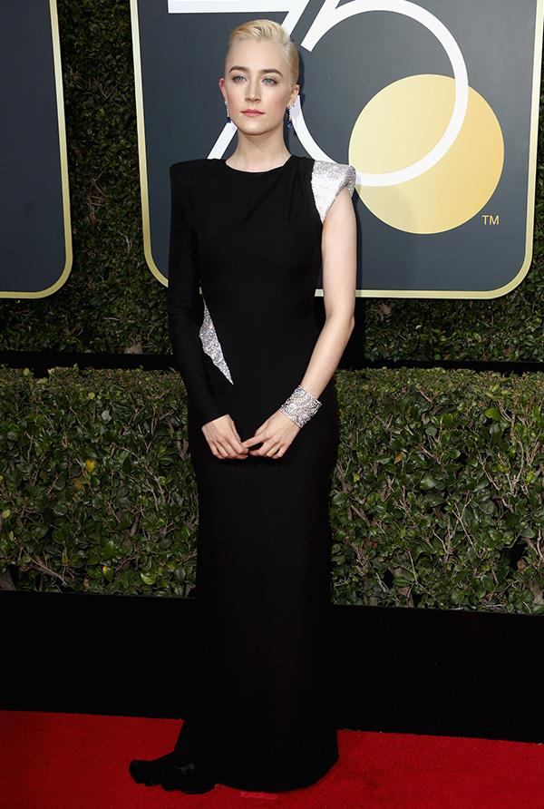 Saoirse Ronan in Atelier Versace at the 2018 Golden Globes.