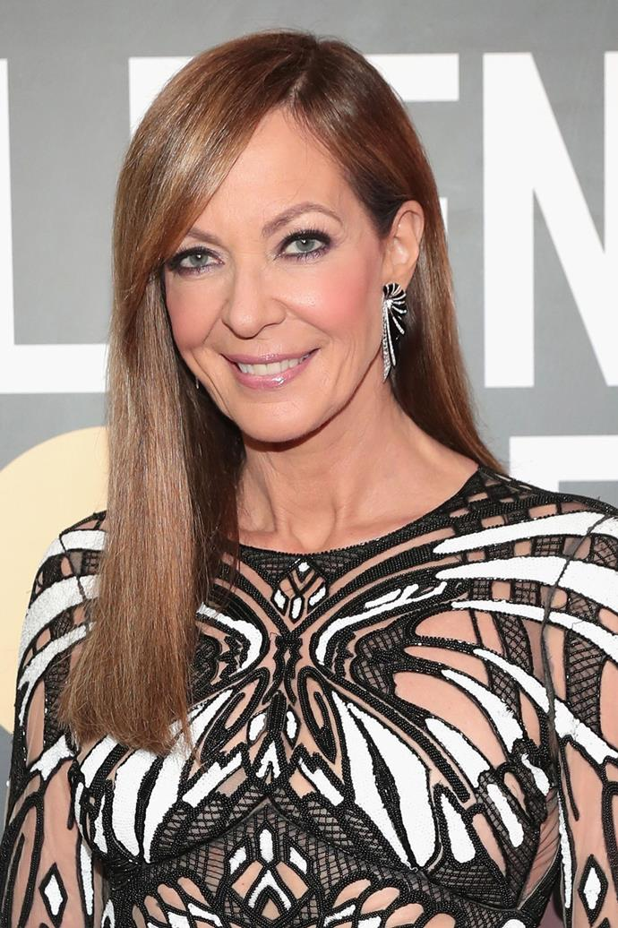**Allison Janney** <br><br>  The *I, Tonya* actress rocked a dark eye, rosy cheeks and a glossy lip at this year's Golden Globes.