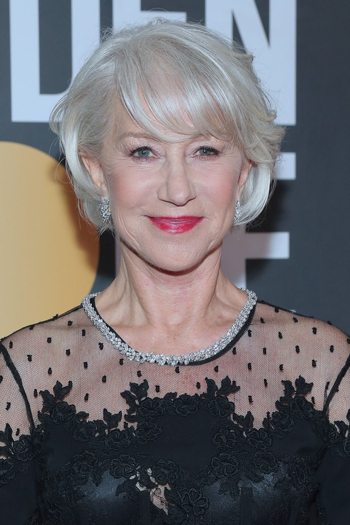 **Helen Mirren** <br><br> The ever-ageless beauty Helen Mirren opted for a bright pink feature lip and cool-toned lids.