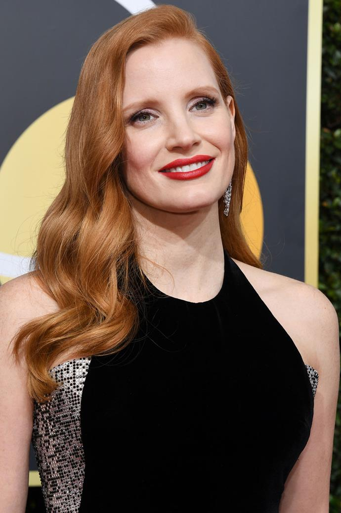 **Jessica Chastain** <br><br> Chastain's red carpet beauty look couldn't be more old Hollywood glamour.