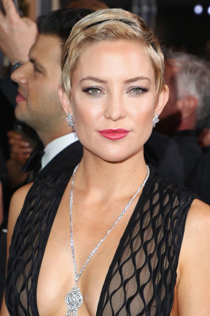 **Kate Hudson** <br><br> We have seriously been loving Kate Hudson's cropped 'do, and she paired her new cut with a thing black headband on this year's red carpet.