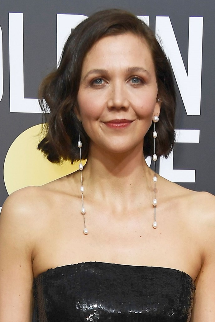 **Maggie Gyllenhaal** <br><br> Gyllenhaal kept her signature wavy bob on this year's red carpet, and added rose-coloured lips to her look.