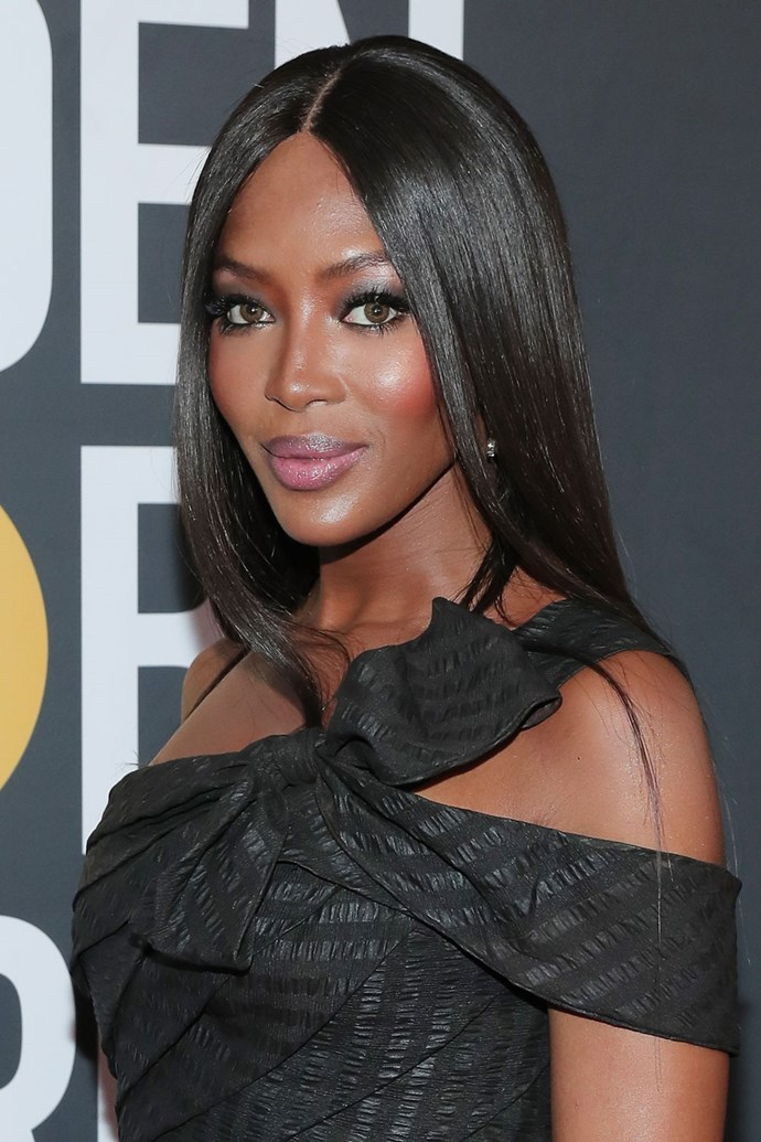 **Naomi Campbell** <br><br> The supermodel stepped on to the red carpet with her signature sleek locks, blushed cheeks and grey smokey eye.