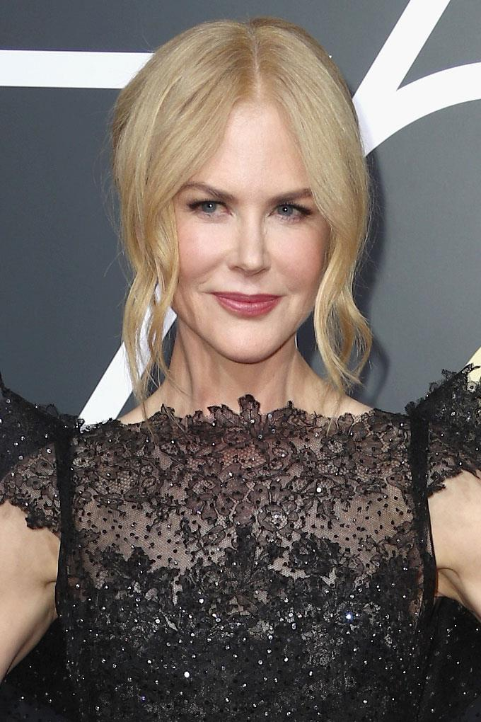 **Nicole Kidman** <br><br> The Aussie actress rarely steps a wrong foot when it comes to red carpet beauty. Here, she opts for a loose updo paired with subtle black liner and rose-tinted lips.