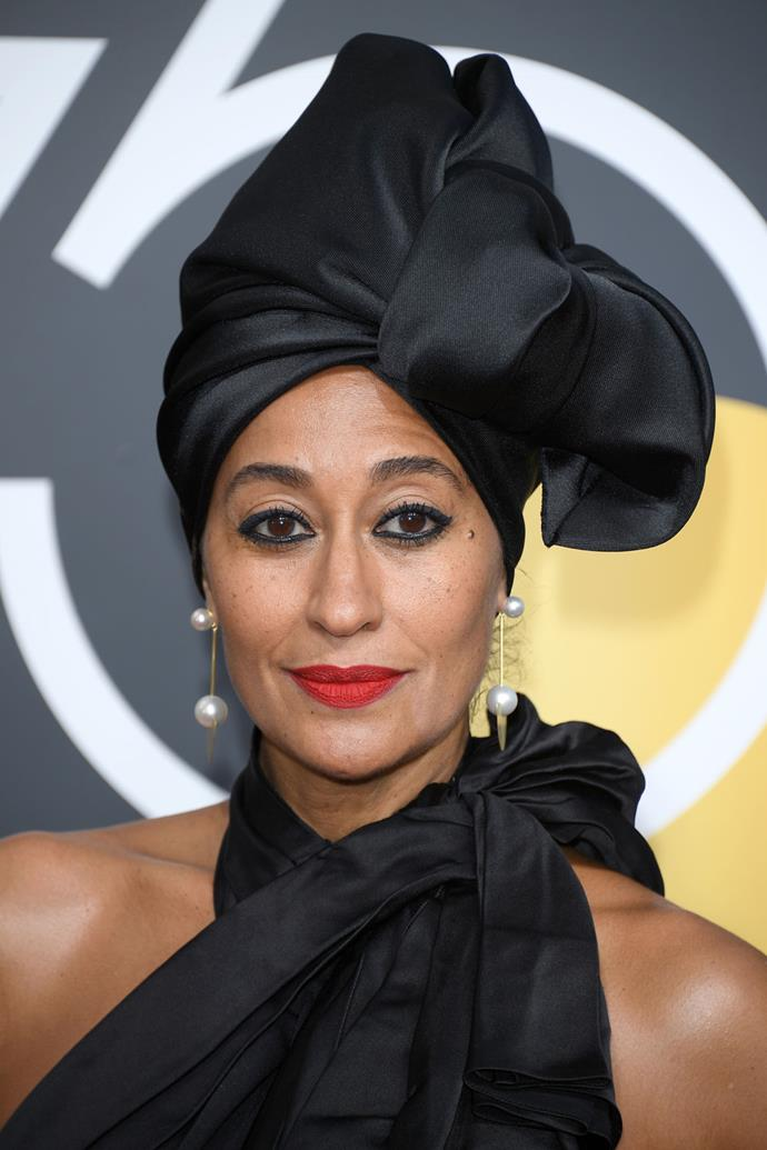 **Tracee Ellis Ross** <br><br> We have never not loved the beauty looks that Tracee Ellis Ross steps out in, and this turban and bright red lip combo is no exception.