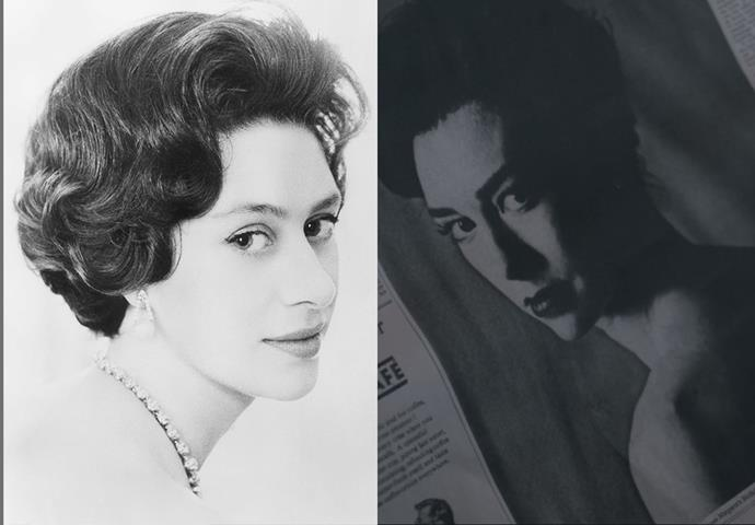 "***Princess Margaret's 'Nude' Portrait***<br><bR> For her now-infamous ""nude"" portrait (where her dress was pushed off her shoulders), both the fictional and real Princess Margaret sported a curled, coifed 'do and natural makeup. The show added a bright lip to Vanessa Kirby."