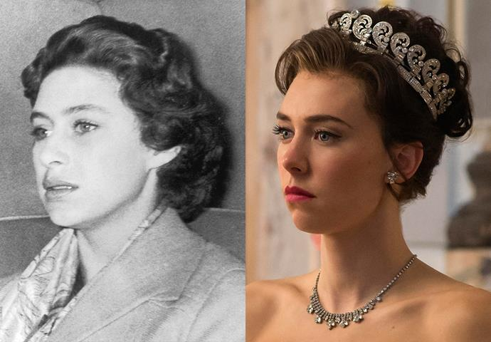 ***Princess Margaret***<br><bR> Like Claire Foy's Queen Elizabeth, the show enhanced the boldness of Princess Margaret's eyebrows and makeup, usually giving her a bright lip and subtle eyeliner.